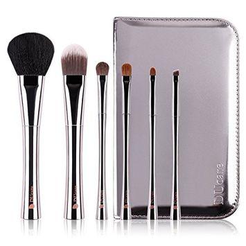 DUcare 6Pcs Premium Makeup Brush Set with Holder Premium Animal Synthetic Fibers,Copper