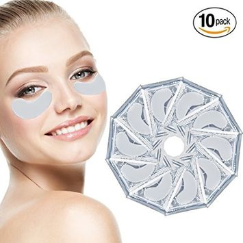 Anti Aging Treatments Set / Kit of 10 Pairs Eyes Milk White Collagen Gel Crystal Masks / Patches / Pads for Wrinkles / Crows Feet, Dark Circles and Puffiness / Puffy Eye Bags Removal and Moisturizing