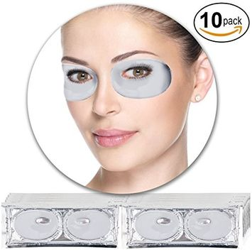 Anti Aging Treatments Set / Kit of 10 Pairs Eyes / Eyelids Milk White Collagen Gel Crystal Masks / Patches for Wrinkles / Crows Feet, Dark Circles and Puffiness / Puffy Eyes Removal and Moisturizing