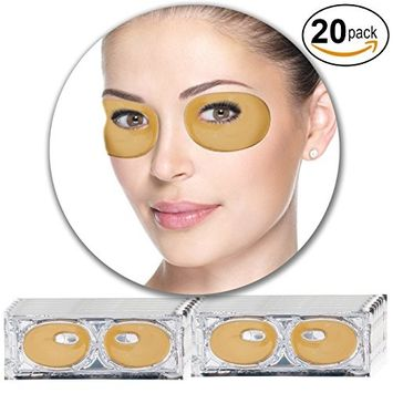 Anti Aging Treatments Set Kit of 20 Pairs Eyes Eyelids 24 K Gold Golden Collagen Gel Crystal Masks Patches Pads for Wrinkles Crows Feet, Dark Circles and...