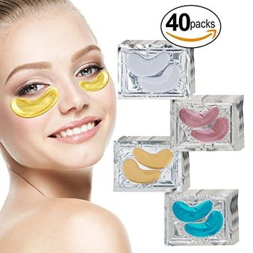 VAGA 40 Pairs Collagen Gel Crystal 24K Gold, Milk White, Blue Algae and Red Wine Eye Masks for Puffiness, Dark Circles and Wrinkles Removing, Hydrating,...