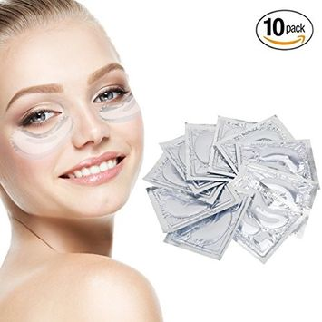 Anti Aging Treatments Set / Kit of 10 Pairs Eyes Clear Collagen Gel Crystal Masks / Patches / Pads for Wrinkles / Crows Feet, Dark Circles and Puffiness / Puffy Eye Bags Removal and Moisturizing