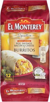el monterey® signature meat lovers egg, sausage, bacon & cheese burrito