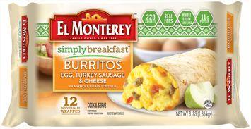 El Monterey™ Simply Breakfast™ Egg, Turkey Sausage & Cheese Burritos 12 ct Bag
