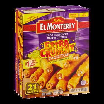 El Monterey Extra Crunchy Taquitos Taco Seasoned Beef & Cheese - 21 CT