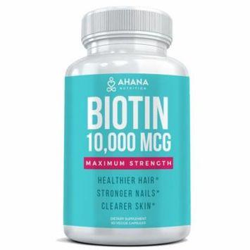 Ahana Nutrition Biotin Hair Vitamins 10,000mcg Per Serving - Longer, Stronger & Shinier Hair With Less Breakage