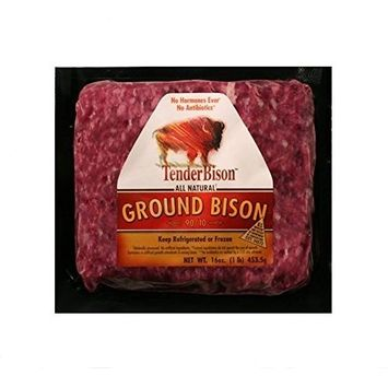 Ground Buffalo 100% Extra Lean: 100% All-Natural, Grass-Fed North American Buffalo Meat with no growth hormones or antibiotics - USDA Inspected - 16 oz. each - (Count 4)