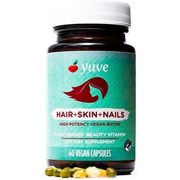 Yuve Natural Biotin 5000 mcg Vitamin - Supports Healthy Hair Growth, Glowing Skin and Strong Nails - Vegan, Non-GMO, Gluten-Free - High Potency Vitamin B7 Supplement - 60 Veggie Caps