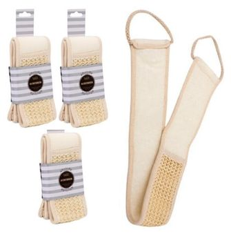 3-Pack Weyli Body Scrubber Loofah Luffa with Rope Handles for Bathing and Exfoliating - 27' Long