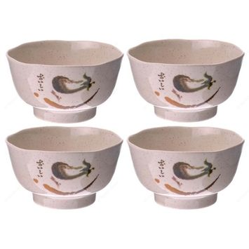 M.V. Trading EP702 Rice Miso Soup Melamine Bowls with Eggplant Design Series, 8-Ounces, 4¼-Inches, Set of 4