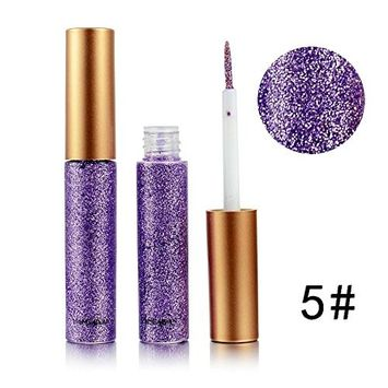 Glitter Liquid Eyeliner Doinshop Waterproof Metallic Shiny Smoky Eyes Eyeshadow(E#)