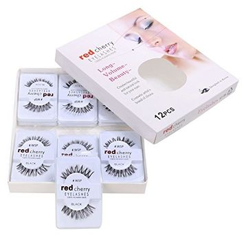 eshion 12 Pairs False Fake Human Hair Eyelashes Adhesives Glamour Black Natural Eye Lashes Makeup Beauty