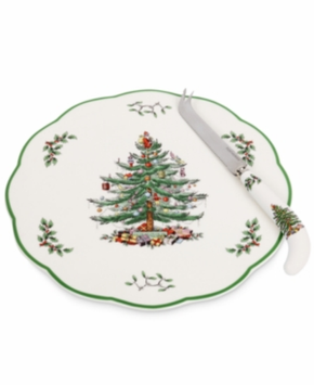 Spode Christmas Tree Cheese Plate with Knife