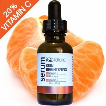 iQ Natural Vitamin C Serum with Hyaluronic Acid & Vitamin E For Face | All Natural Moisturizing, Anti-Aging & Brightening | Collagen Boosting Anti-Wrinkle Facial Serum & Moisturizer - 1oz