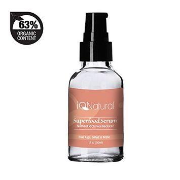 iQ Natural Facial Firming Serum - DMAE & MSM Pore Reducing Tighten Decollate and Neck - Natural & Organic Anti Aging Formula 1oz
