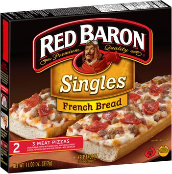 Red Baron® Singles French Bread 3 Meat Pizzas 2 ct Box