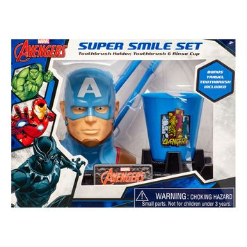 Marvel Avengers 3-Piece Super Smile Toothbrush and Holder Set
