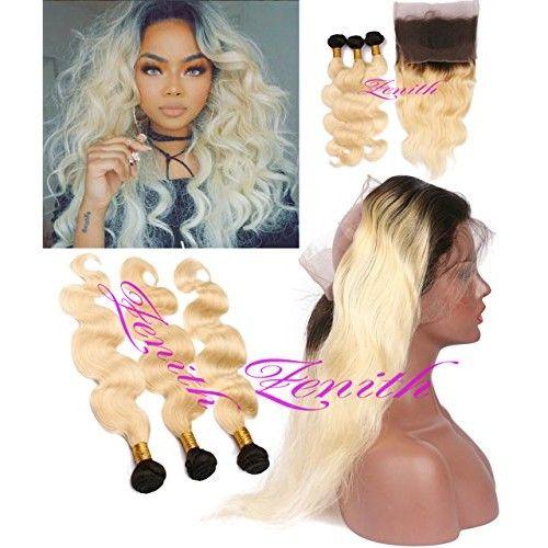 "Zenith Best 613 Hair Bundles3 + Brazilian 8A Virgin Human Hair Body Wave Ombre Blonde 360 Lace Wig Shoulder Length Weave Blonde Hair Bundles Blonde Wig with Baby Hair (12"" 14"" 16""+10"")"
