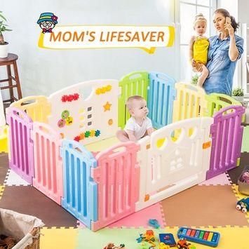 Harper&Bright Designs DreamHouse Kiddie Playpen Home Baby Safety Playards (Greek Style)