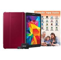"""Samsung Samsung 8"""" Galaxy Tab 4 16GB Tablet with Book Cover, 8GB Memory Card and App Pack - Black Tablet with Plum Red Cover"""""""