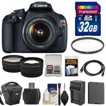 Canon EOS Rebel T5 Digital SLR Camera Body & EF-S 18-55mm IS II Lens with 32GB Card + Case + Battery & Charger + Filter + Tele/Wide Lens + Kit