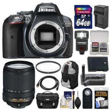 Nikon D5300 Digital SLR Camera Body (Grey) with 18-140mm VR Zoom Lens + 64GB Card + Case + Flash + Grip + Battery & Charger Kit
