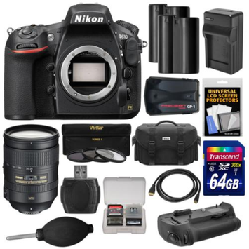 Nikon D810 Digital SLR Camera Body with 28-300mm VR Lens + 64GB Card + 2 Batteries/Charger + Case + GPS Adapter + Grip + Kit