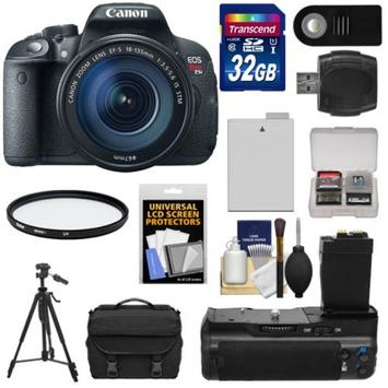 Canon EOS Rebel T5i Digital SLR Camera & EF-S 18-135mm IS STM Lens with 32GB Card + Battery + Case + BG-E8 Grip + Filter + Remote + Tripod + Kit