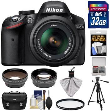 Nikon D3200 Digital SLR Camera & 18-55mm G VR DX AF-S Zoom Lens (Black) with 32GB Card + Case + Filter + Tripod + Telephoto & Wide-Angle Lenses + Accessory Kit