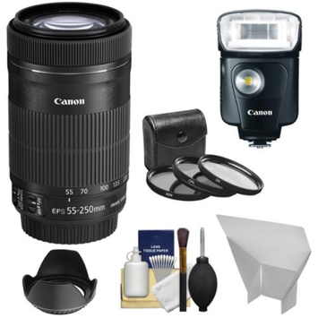 Canon EF-S 55-250mm f/4.0-5.6 IS STM Zoom Lens with 320EX Flash & Video Light + 3 UV/CPL/ND8 Filters + Reflector + Accessory Kit for Digital SLR Cameras