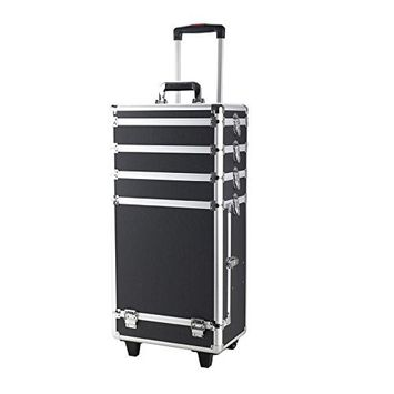 4 in 1 Interchangeable Aluminum Rolling Makeup Case Cosmetic Train Box Trolley Case