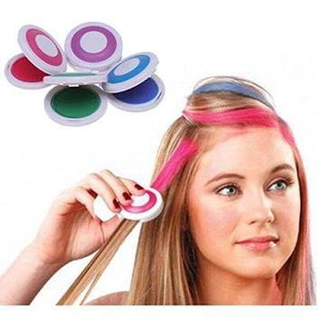 Msmask 4pcs Hot Huez Hues Non-toxic Temporary Hair Chalk DIY Wash-Out Stylish
