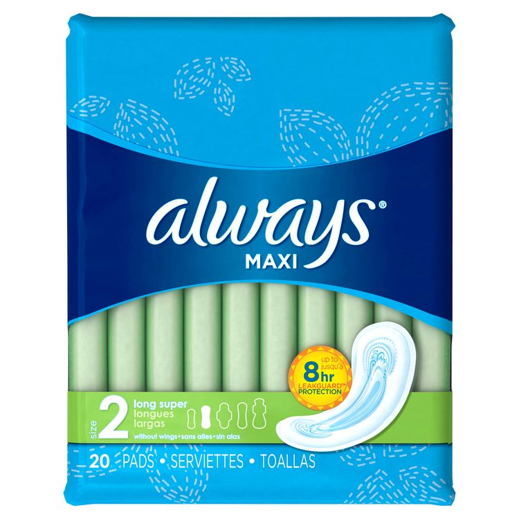 Always Maxi Size 2 Long Super Pads Without Wings Unscented ...