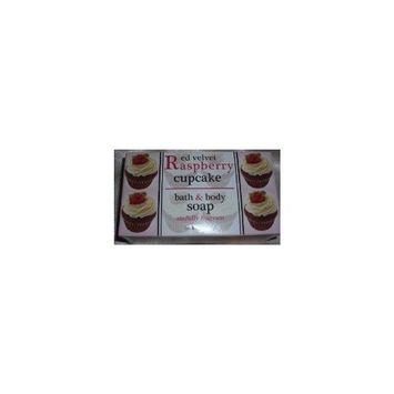 Shugar Soapworks Red Velvet Raspberry Cupcake Bath & Body Soap, Two 7 Oz Bars