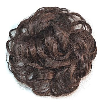 Oshide Scrunchy Scrunchie Hair Bun Updo Hair Ribbon Ponytail Extensions Donut Hair Chignons Wavy Curly Hair Piece Wig