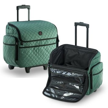 KIOTA Makeup Artist Case on Wheels, Soft Cosmetic Case with Trolley and Removable Storage Pockets for Beauty Products, Side Compartments with Zippers, Teal