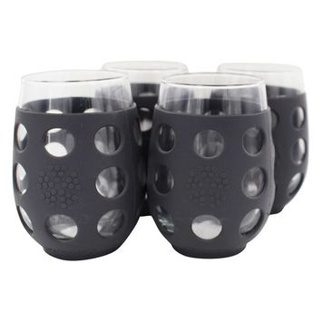 Large Stemless Wine Glasses With Silicone Sleeve Set of 4 Carbon - 17 fl. oz.