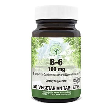 Natural Nutra Premium Vitamin B6 (Pyridoxine Hydrochloride), Vegan and Gluten Free, Supports Heart, Skin, Immune and Brain Health, Recyclable Glass Bottles, 50 Tablets