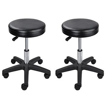 GHP 2-Pcs Black 250-Lbs Capacity Hydraulic Height PU Lether Stool w 2-3/4
