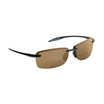 Flying Fisherman Cali Polarized Sunglasses Black Frame with Amber Lens Bifocal Reader 200