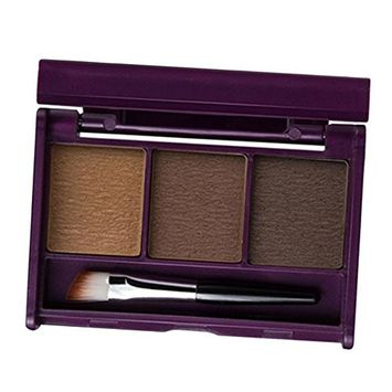 Homyl 3 Colors Long Lasting Easy Colored Eye Brow Eyebrow Defining Powder, Facial Nose Shading Shadow Powder Palette with Mirror Brush Tool Set - 02