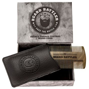 Beard Comb Green Sandalwood - Add to a Mens Grooming Kit Best Travel, Pocket Comb for Men - Works Great with Beard Oil And Brush, Balm & Wax, Includes Beard Care Carry Bag