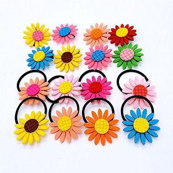 cuhair 20 pieces (10 pieces hair clip 10 piece hair tie ) women girl hair clip Hair Accessories Hairpins hair Barrettes hair claw elastic hair tie ponytail holder sunflower