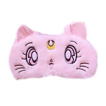 DJHbuy Women Girls Cartoon Cat Sleep Eye Mask Cover Home Travel Plush Blindf
