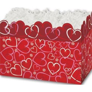 4717LRD Layered Hearts Gift Basket Boxes, 10 1/4 x 6 x 7 1/2