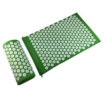 ROSENICE Acupressure Massage Mat and Pillow Set Acupuncture Therapy Pillow Set(Green)