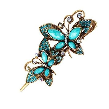 Polytree Women Retro Peacock Flower Butterfly Bowknot Hairpin Hair Clip Alloy Accessary