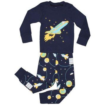Elowel Pajamas Elowel Little Boys Blue Space Rocket Print Cotton 2 Pc Pajama Set 2