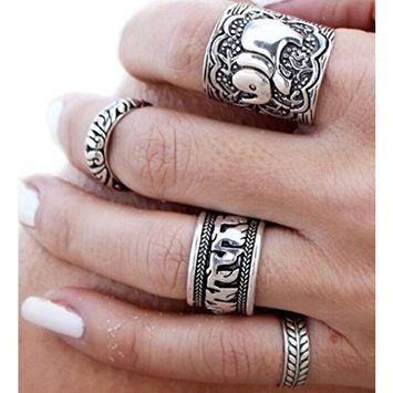 Fheaven 4pcs/Set Women Bohemian Vintage Silver Stack Rings Above Knuckle Blue Rings Set (gray)