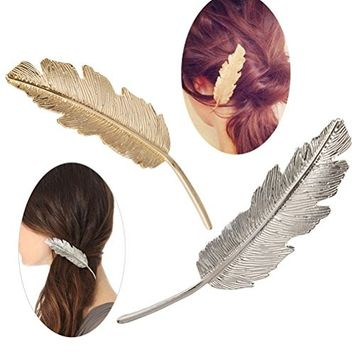 Buytra Leaf Shaped Hair Clip Pin Claw Barrettes Headwears Hair Accessories for Women Girls, Silver and Gold, Pack of 2